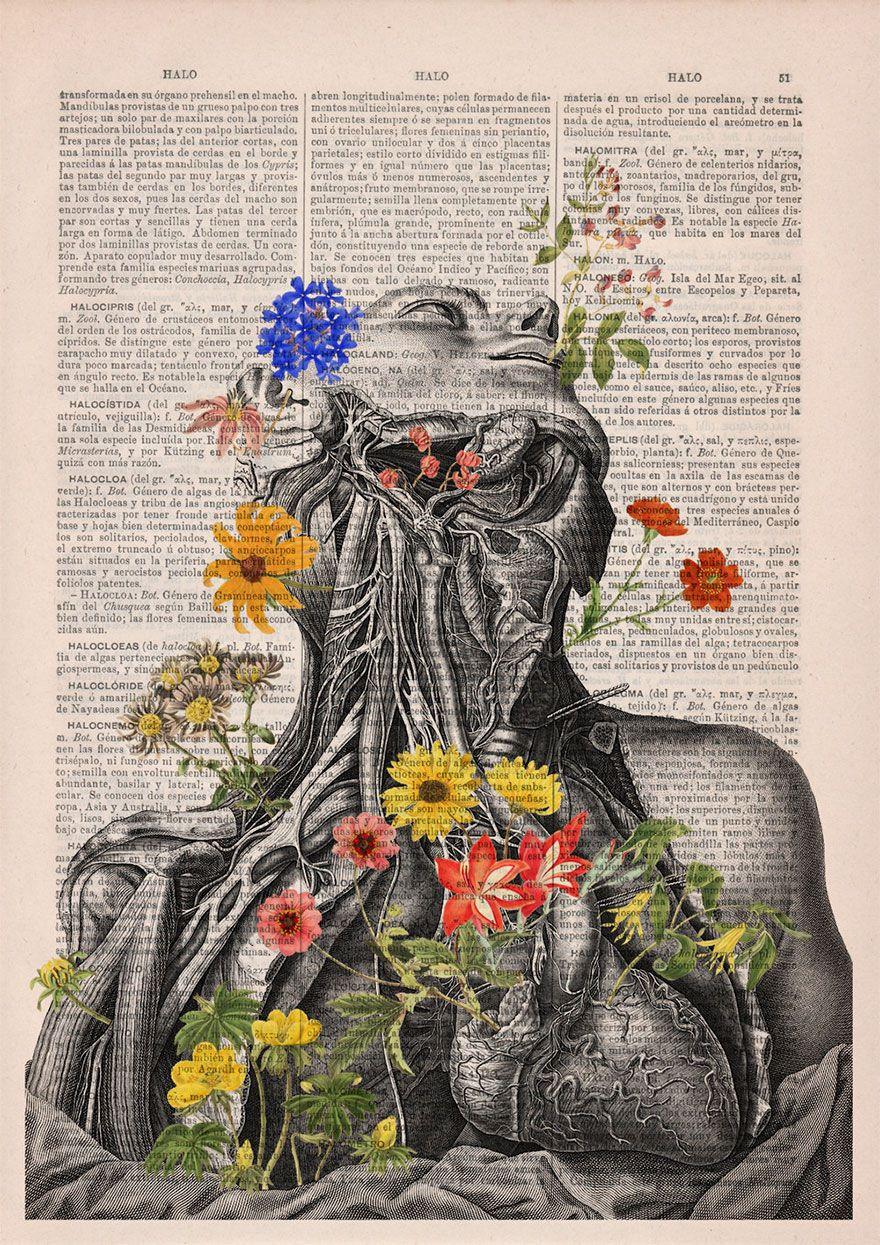 Ilustrações florais são mixadas à imagens do corpo humano e dão vida ...