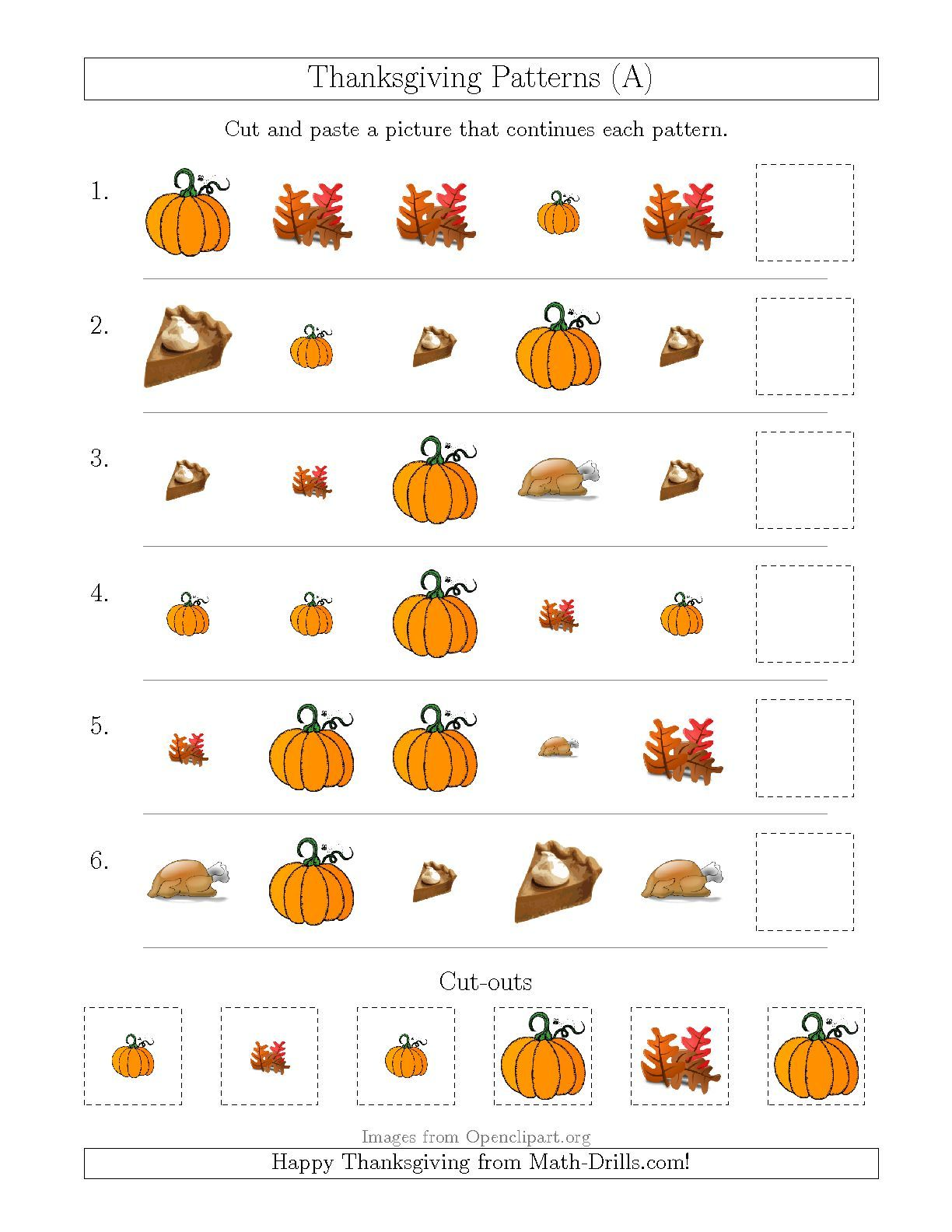 The Thanksgiving Picture Patterns with Size and Shape Attributes – Thanksgiving Math Worksheets