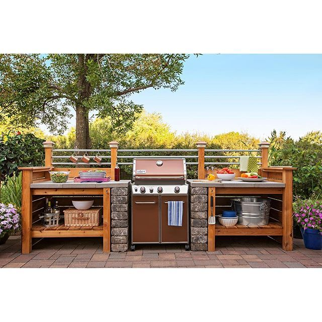 Cost Of Outdoor Kitchen Shutters Loweshomeimprovement Get The Look An Expensive Without Surround A Gas Grill With Modular Diy Structure That You Can