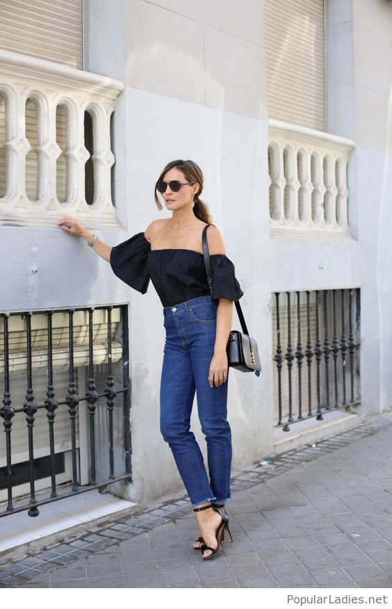 Blue jeans, black top and accessories | Styles for me | Pinterest ...