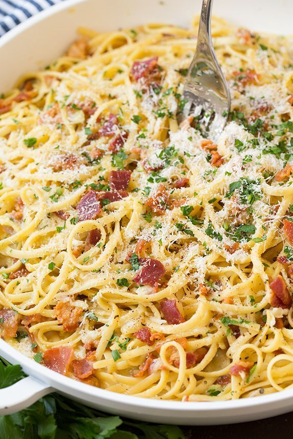 Carbonara - this is the BEST Pasta Carbonara! Easy enough for a weeknight meal yet delicious enough to serve to guests on the weekend!