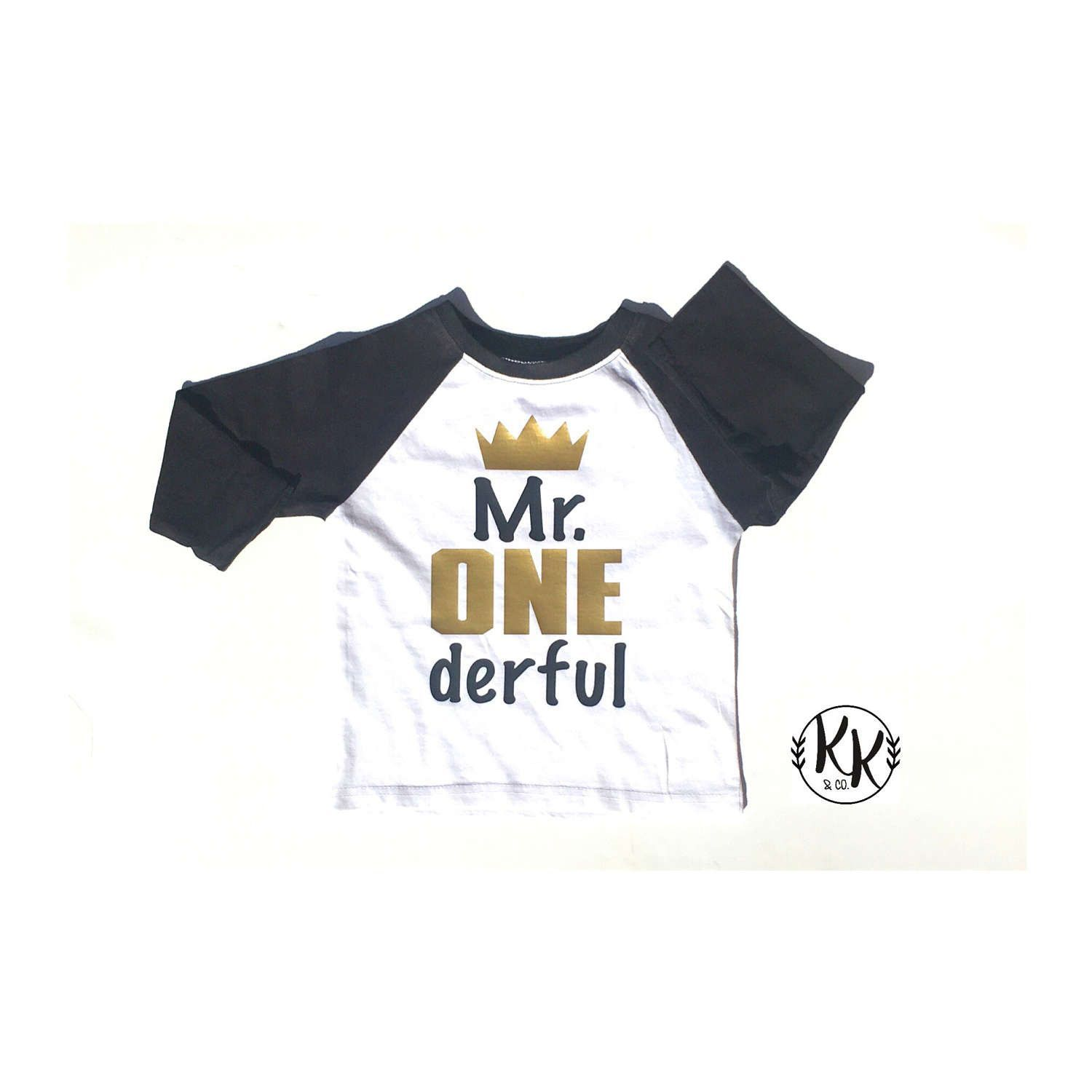 Mr ONE Derful Boys Birthday Shirt 1st Raglan Personalized