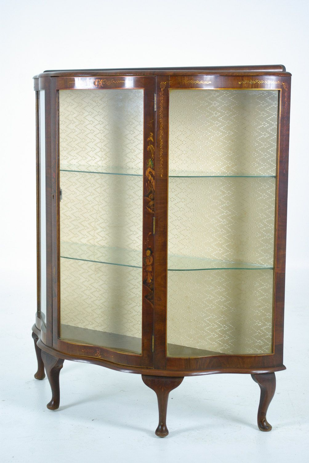 B475 Art Deco Burled Walnut China Curio Display Cabinet With Printed Front By Heatherbraeantiques On Etsy