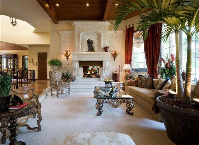 Mediterranean Villa Living Room with stone firep ...