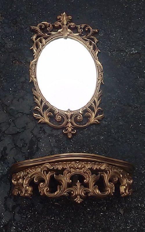 Turner Mirror And Shelf Set Hollywood Regency Gold Ornate Art Wall