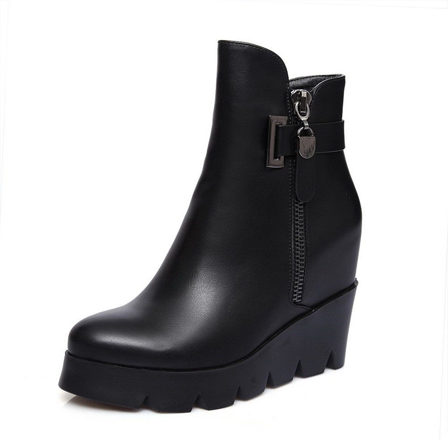 Women's Solid Blend Materials Boots with Zippers and Thread