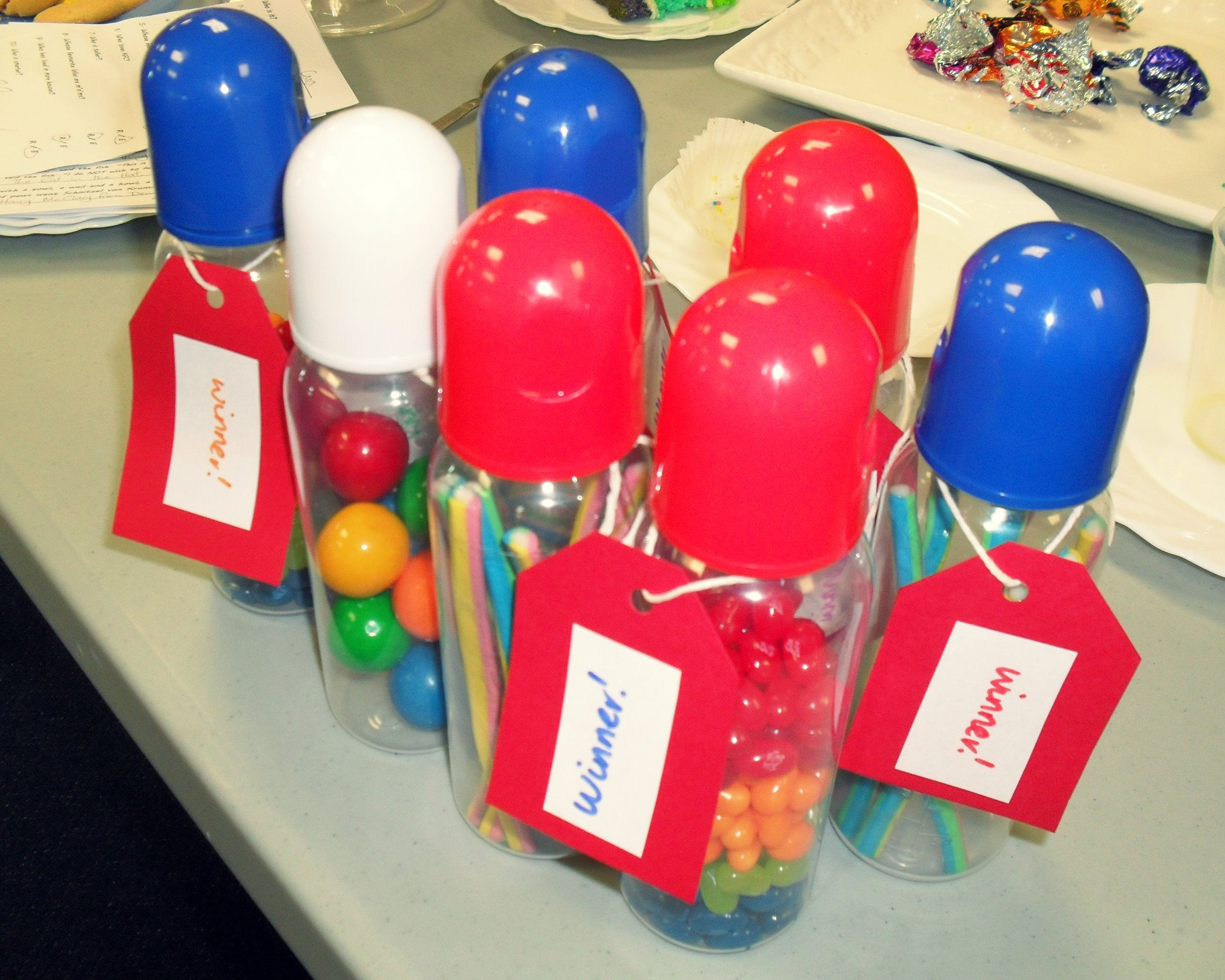 Rainbow Themed Baby Shower   Prizes For The Games. Cheap Baby Bottles  Filled With Rainbow