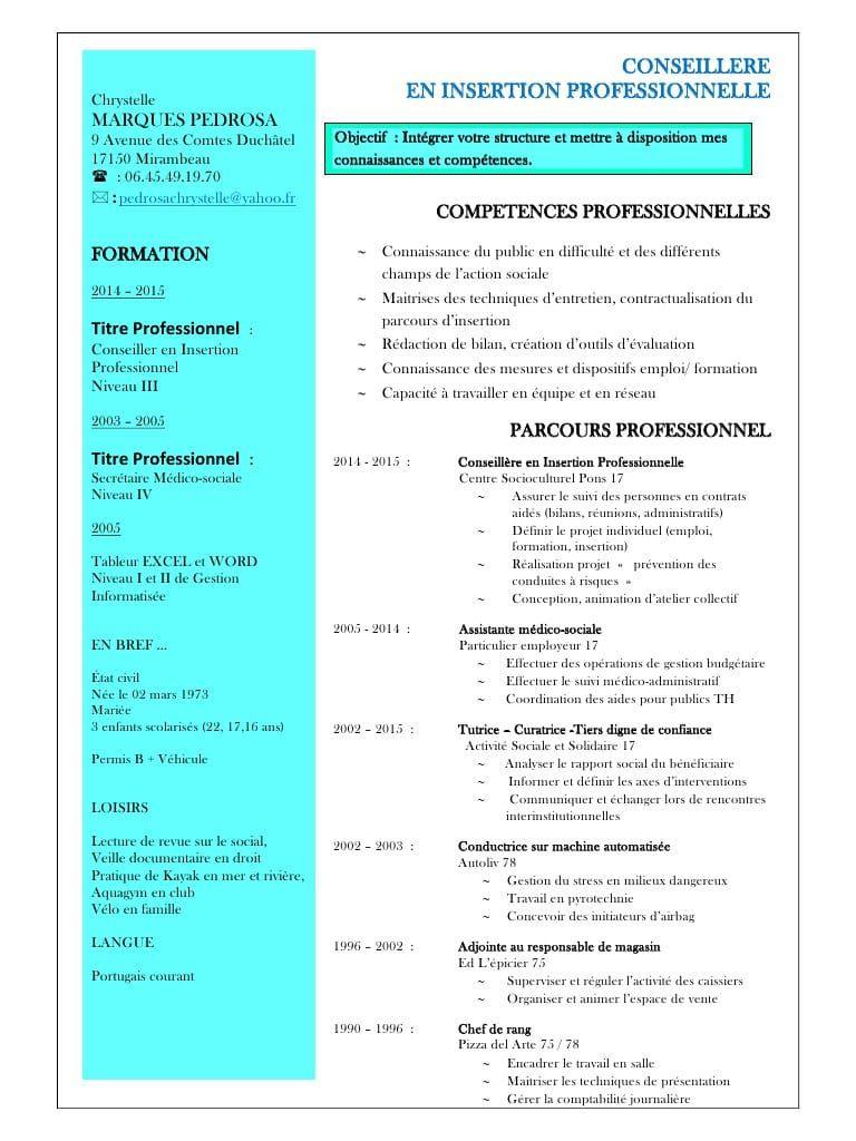 Exemple De Cv Conseiller En Insertion Sociale Et Professionnelle Lettre De Motivation Exemple Cv Modeles De Lettres
