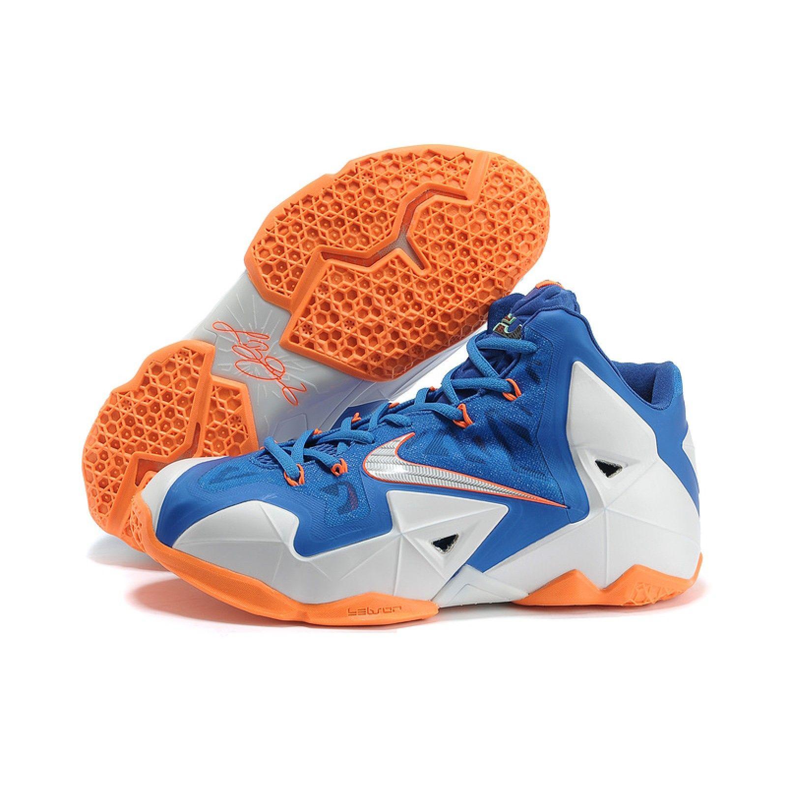 Cheap Nike Lebron 11 White Blue Orange Shoes