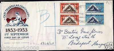 Commonwealth #covers- south #africa, cape triangular fdc to #hungary, 1953,  View more on the LINK: http://www.zeppy.io/product/gb/2/281816251684/