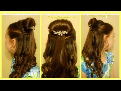 Belle Hairstyle Tutorial Beauty And The Beast Inspired Hairstyles For Girls Princess Hairstyles Belle Hairstyle Princess Hairstyles Hair Styles
