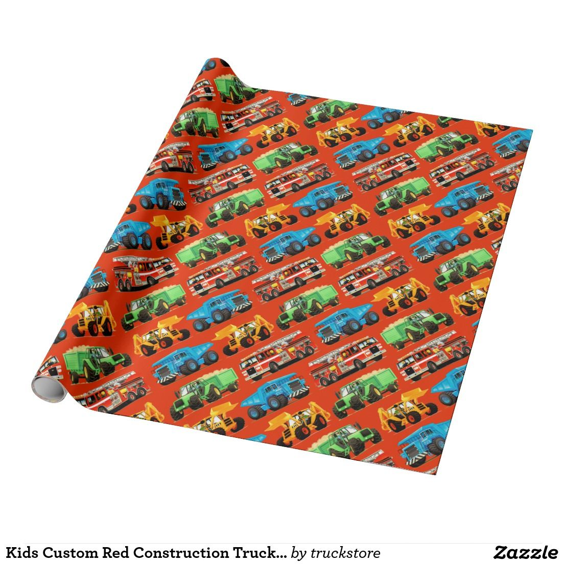 kids custom red construction truck pattern gift wrapping from