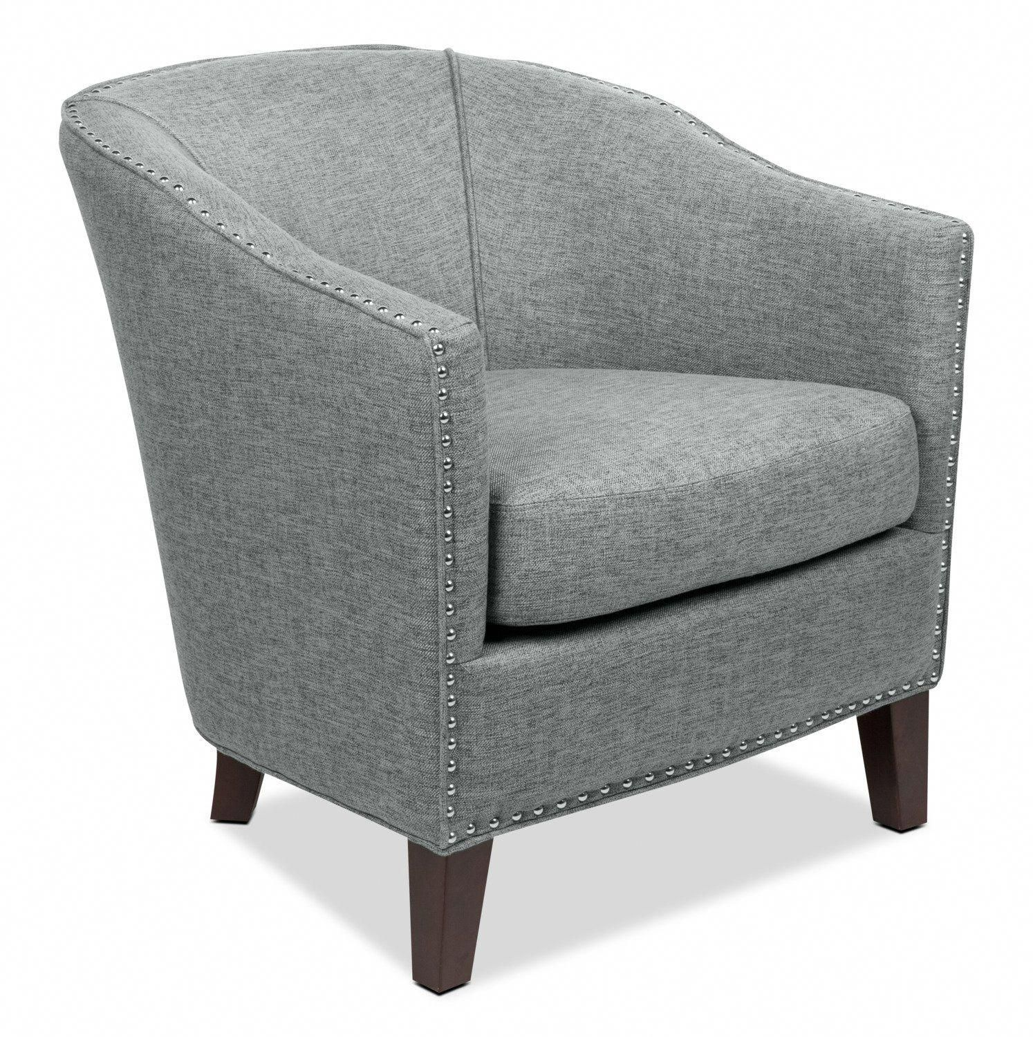 Stella LinenLook Fabric Accent Chair Grey Accent