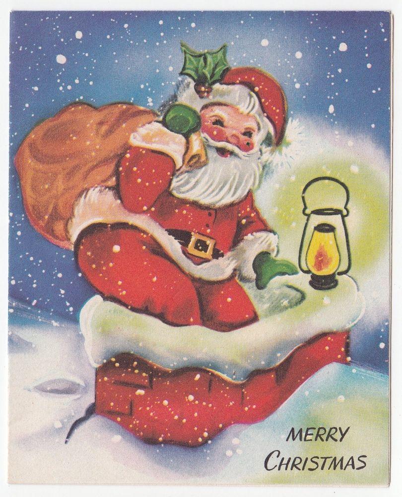 Vintage greeting card christmas santa claus chimney bag toys snowy vintage greeting card christmas santa claus chimney bag toys snowy rooftop kristyandbryce Image collections
