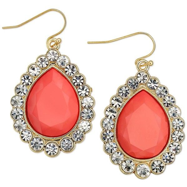 Thalia Sodi Gold-Tone Coral Pave Stone Teardrop Earrings found on Polyvore
