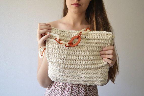 Crochet bag White bag Messenger bag for woman summer by Notforeat, €35.00