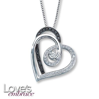 debde777d61 Love's Embrace Necklace Black/White Diamonds Sterling Silver @Jared The  Galleria of Jewelry