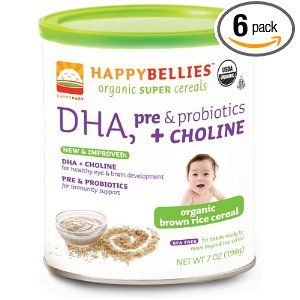 Price: $23.94 - HAPPYBELLIES Organic Super Cereals, DHA, pre  Probiotics + Choline, Organic Brown Rice Cereal, 7-Ounce Canisters (Pack of 6) - TO ORDER, CLICK ON PHOTO
