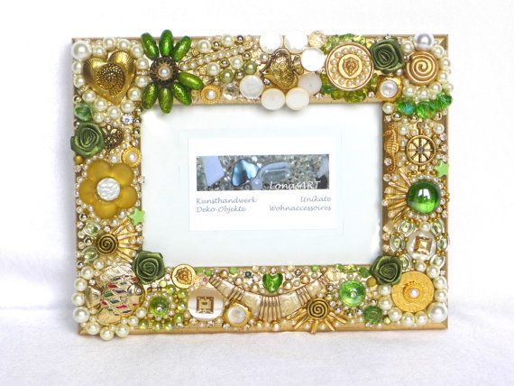 Jeweled Frame, Decorated Photo Frame, gold, greenery, framed mosaics ...