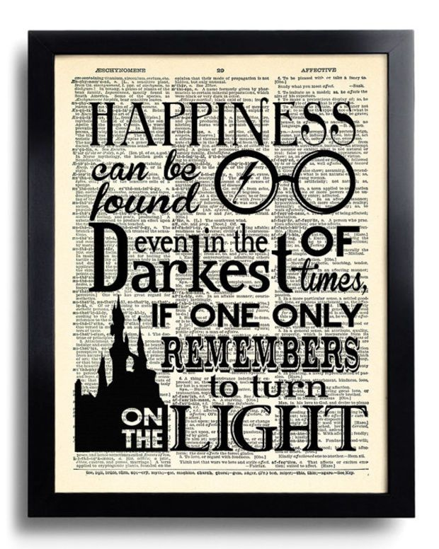 Harry Potter Happiness Can Be Found Quote Potter Poster Print On Dictionary Paper Kid Room De Harry Potter Bedroom Harry Potter Room Decor Harry Potter Decor