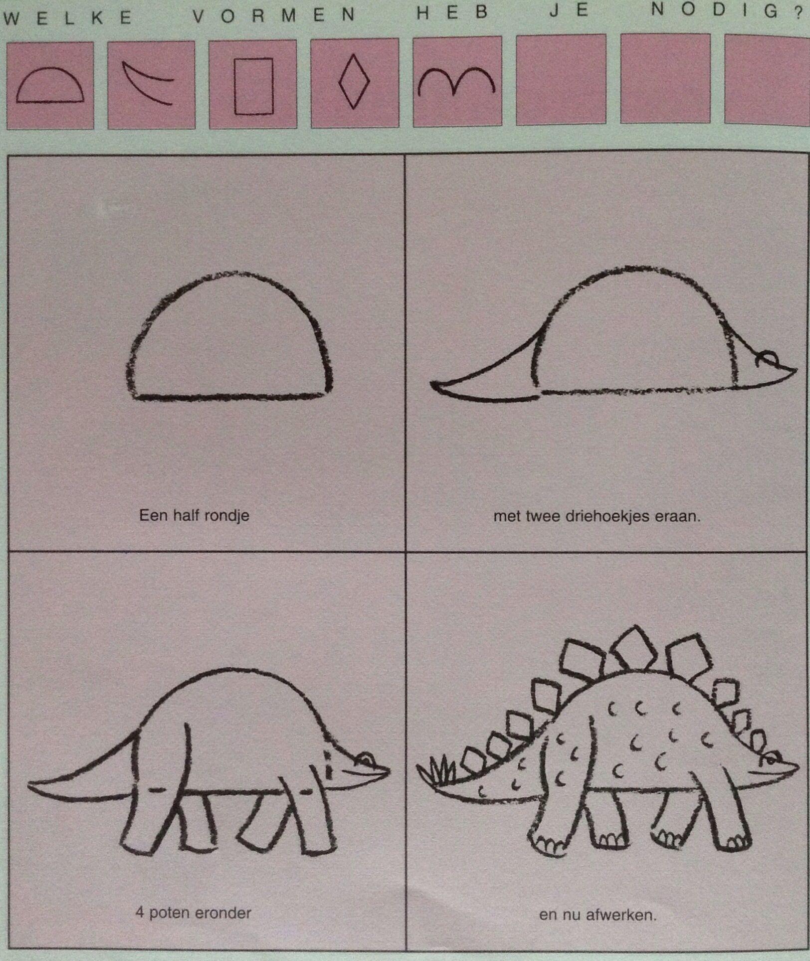 Dino 2 Leren Tekenen Knutselen Dino Dinosaurus Strijkparels Dino