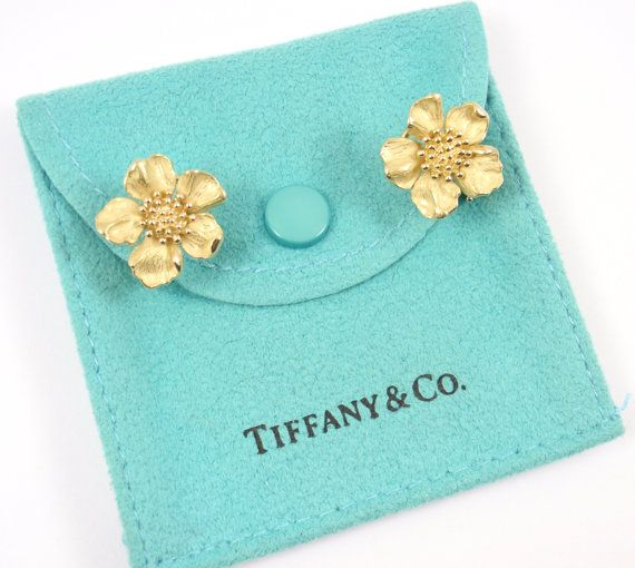 7c90baf76 Rare Vintage Tiffany & Co 18K Yellow Gold Dogwood Flower Stud Earrings with  pouch