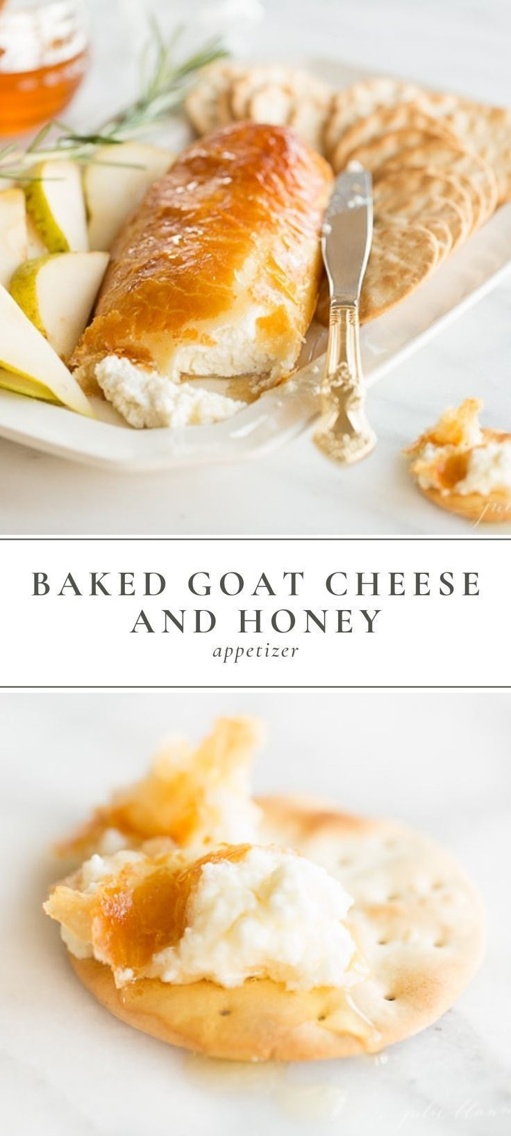 Easy crowd pleasing baked goat cheese and honey appetizer recipe that looks as good as it tastes. I