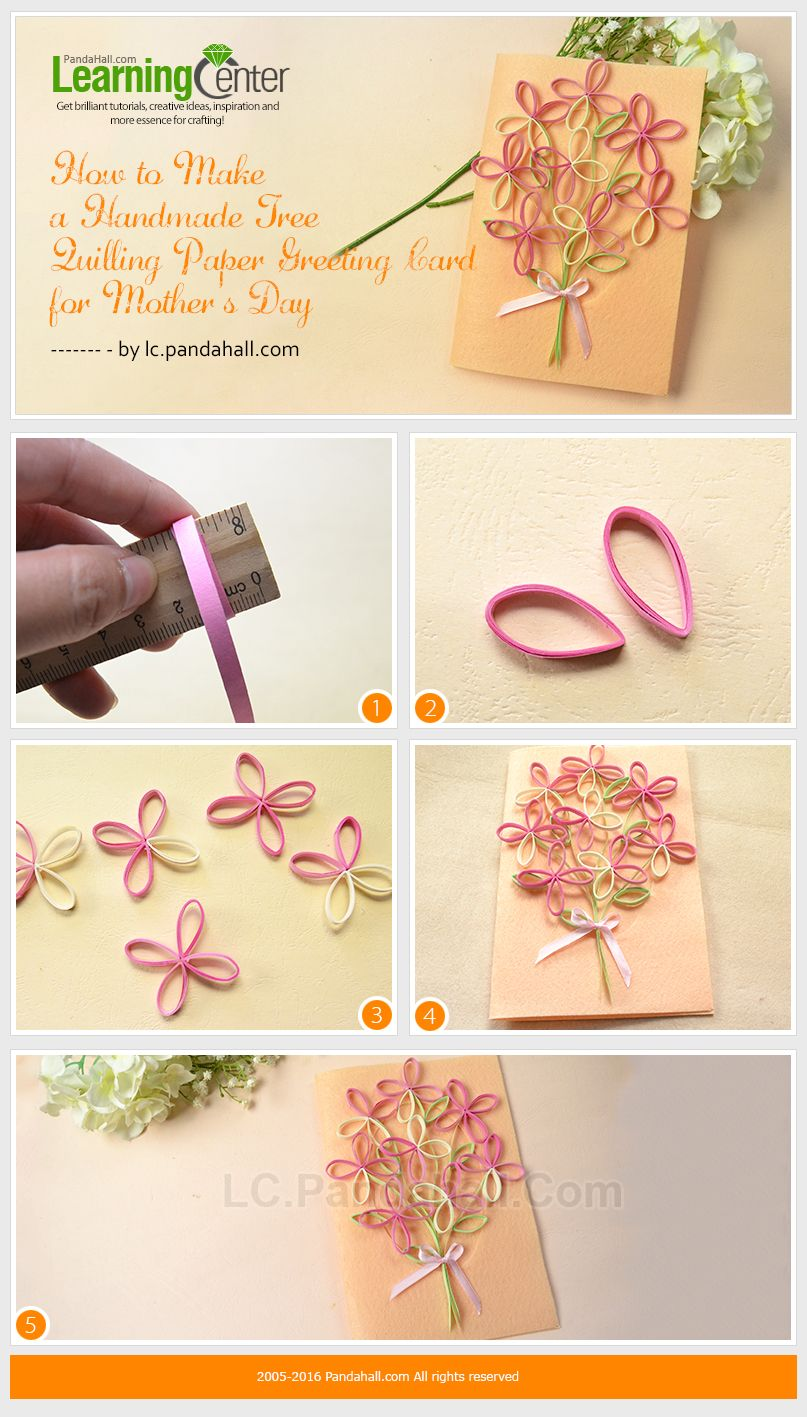How to make a handmade tree quilling paper greeting card for