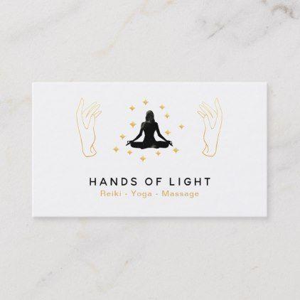healing energy hands woman lotus pose business card