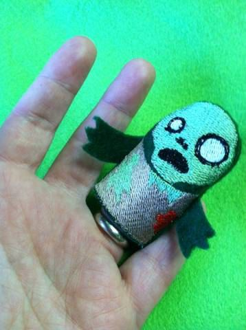 Embroidered Zombie Finger Puppet on Etsy, $3.50