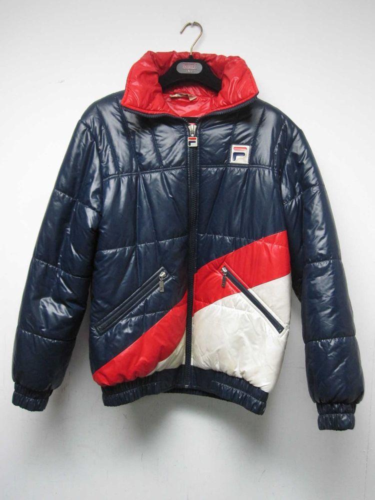 80c04e36c372 VINTAGE FILA MENS RED WHITE & BLUE PUFFY DOWN SKI JACKET PARKA COAT U.S.  SIZE 38 #Fila