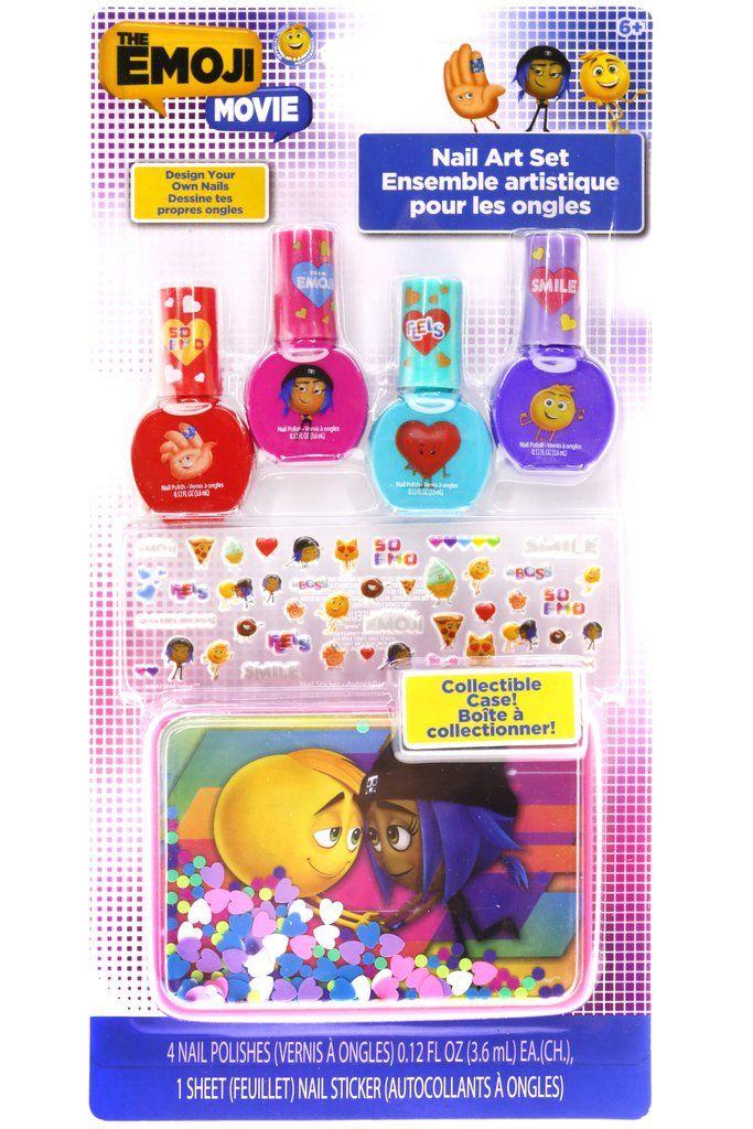 The emoji movie 4 pack nail polish with nail stickers and tin the emoji movie 4 pack nail polish with nail stickers and carrying case prinsesfo Gallery
