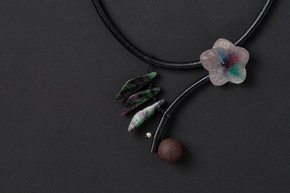 Black Leather Necklace Sterling Silver Flower Ruby by natartg