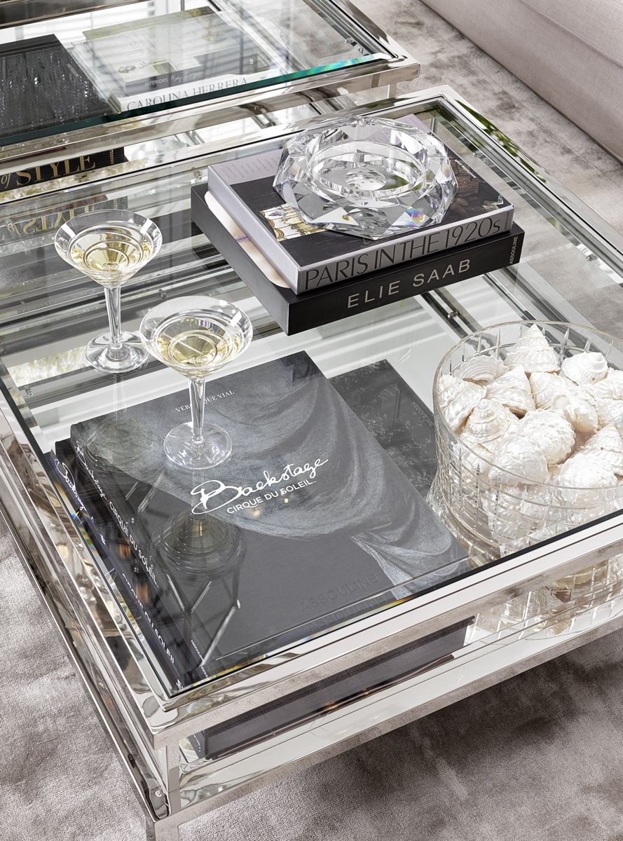 Eichholtz Harvey Square Coffee Table Stainless Steel Coffee Table Square Glass Coffee Tables Living Room Center Table Living Room #silver #tables #for #living #room