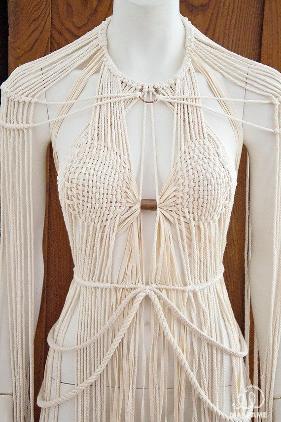 Macrame Festival Boho Beach Party Top / Party dress / Photography top / Macrame Top / Top / Summer Boho Top / Fringe Top / Beach top