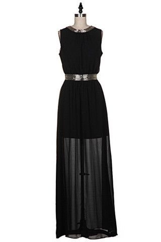 Evening Affair Beaded Maxi Dress - Black - $70.00 | Daily Chic Dresses | International Shipping