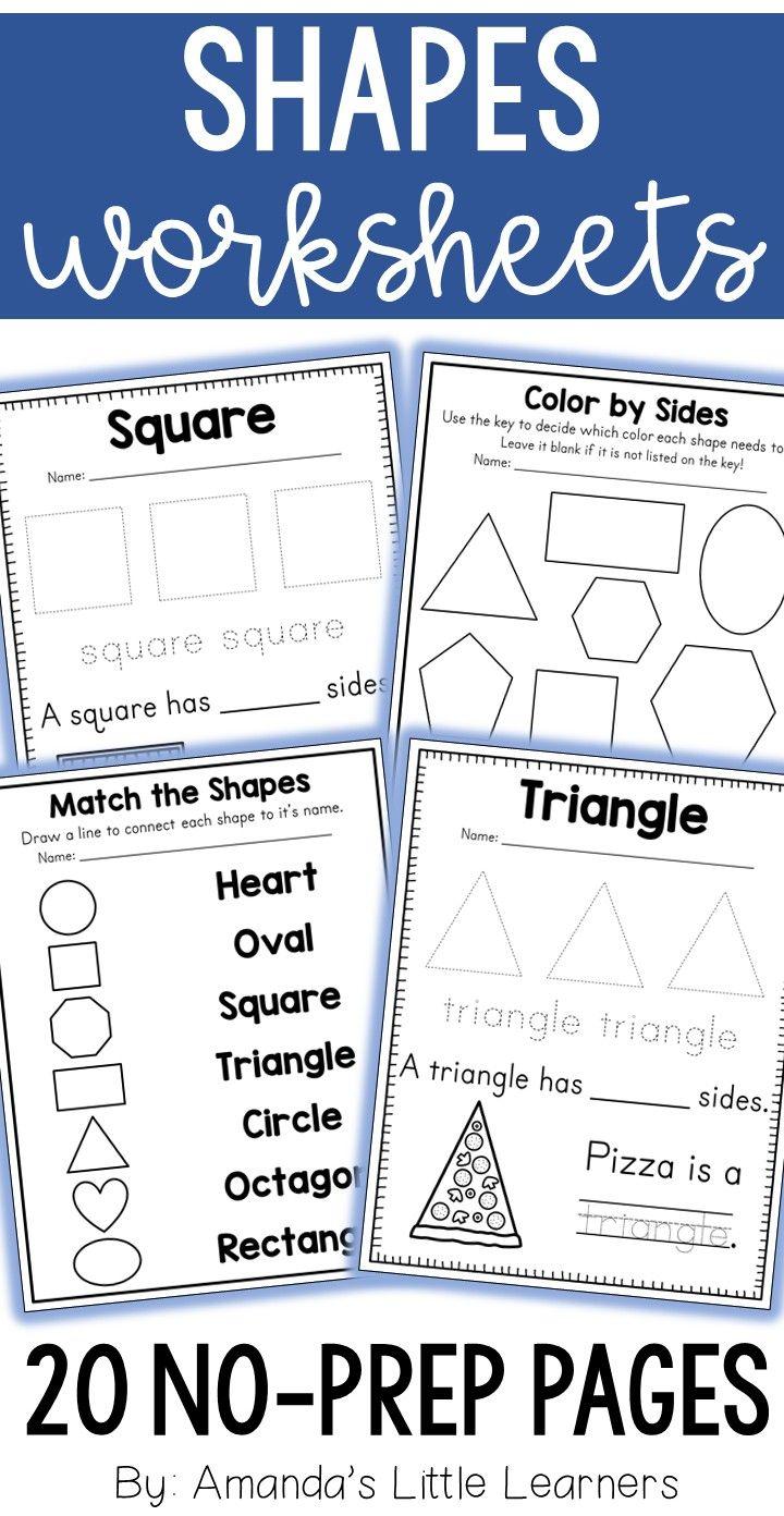 Shape Worksheets 2 D No Prep Shapes Worksheets Shapes