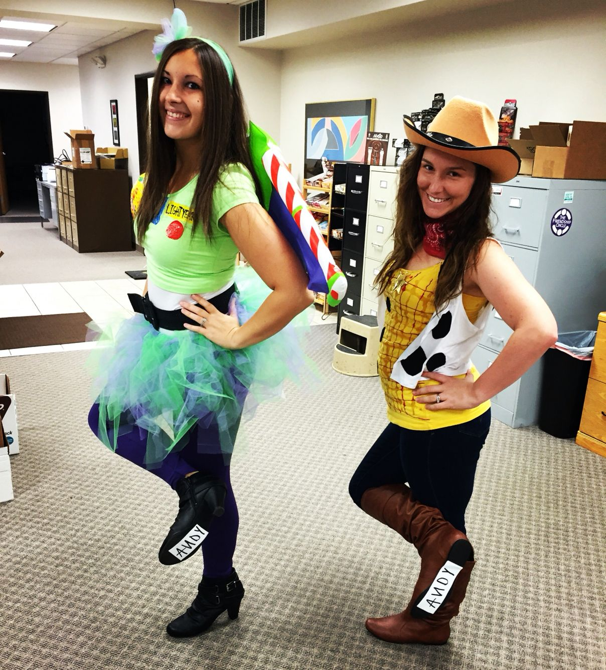 buzz lightyear and woody toy story woman women adult Halloween costume diy best friend creative  sc 1 st  Pinterest & buzz lightyear and woody toy story woman women adult Halloween ...