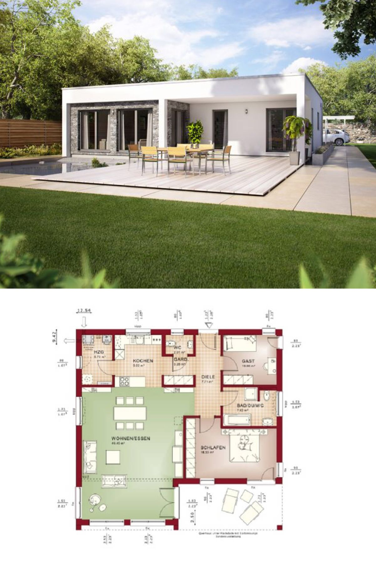 Home design Plan 13x13m with 3 bedrooms Modern bungalow