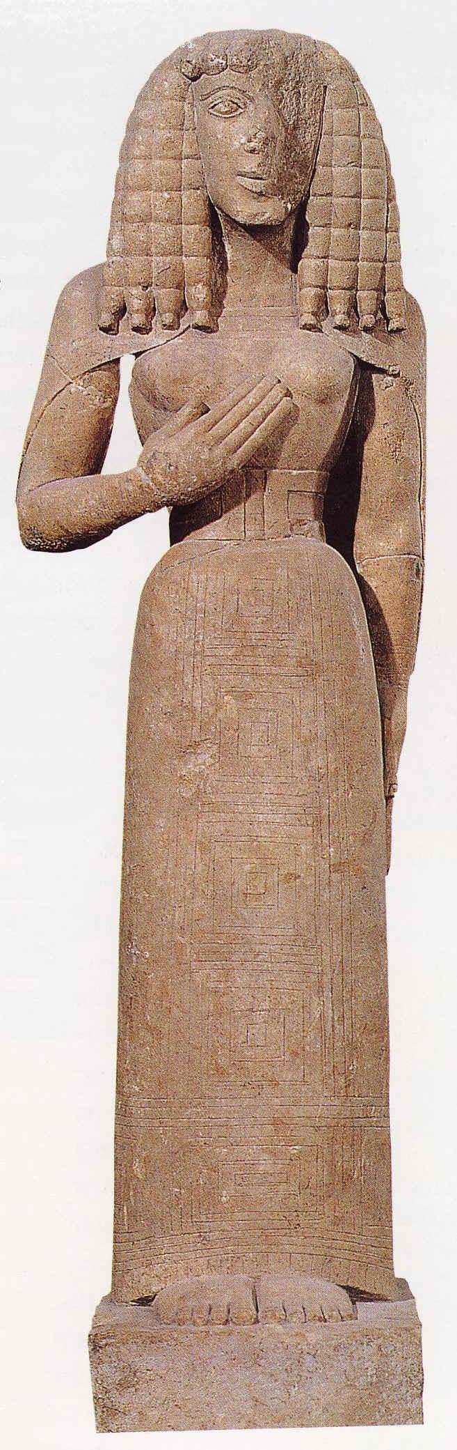 Dama Auxerre Autor: desconocido Fecha:siglo VII a.C . Estilo:arte griego arcaico. He elegido esta obra por su solemnidad, majestuacidad y por su peinado de trenzas gruesas en pesada caida, todas ellas características de la escultura arcaica.