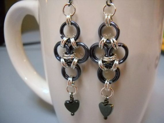 Gunmetal and Silver JAPANESE CROSS Chainmaille by Beads4You2008,