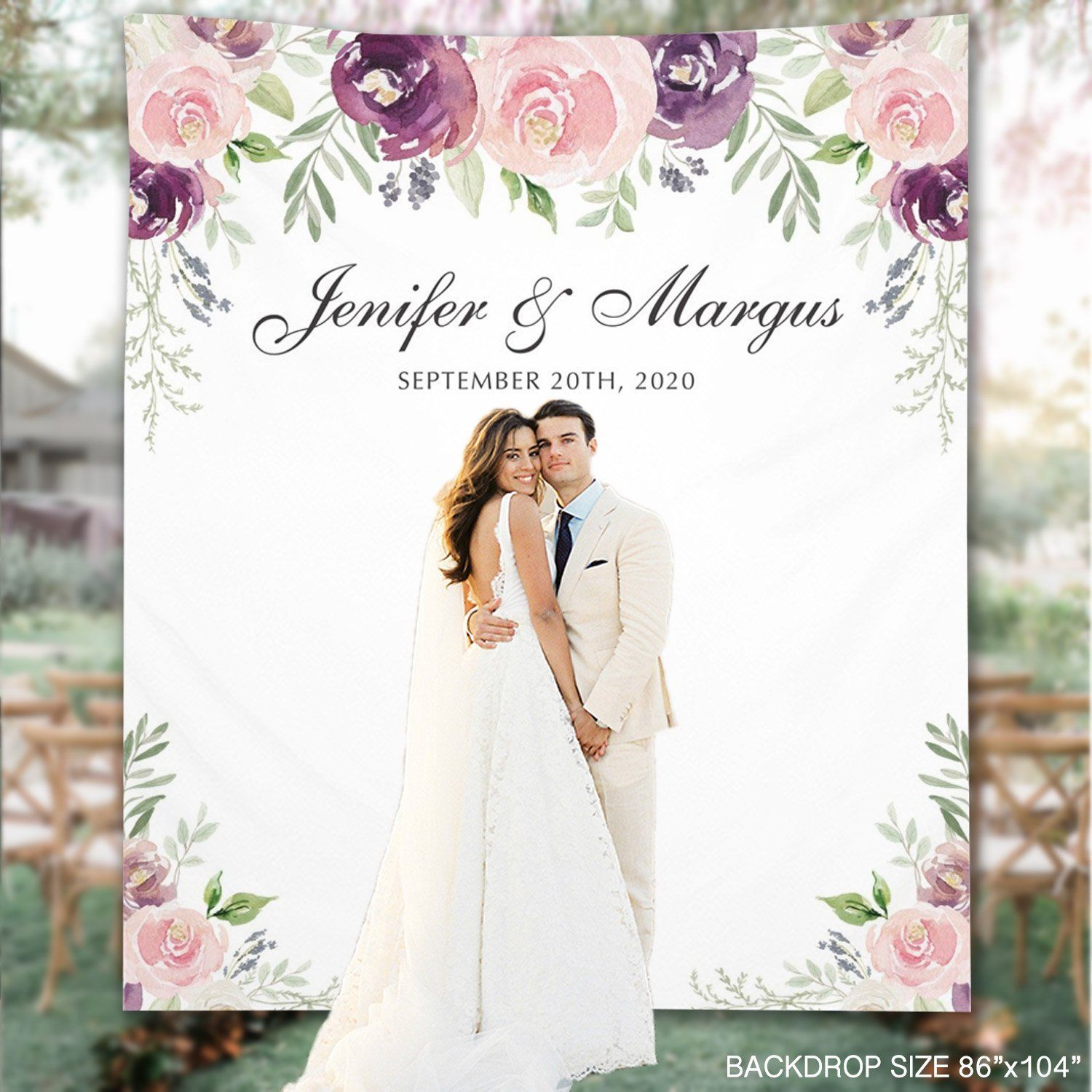 Wedding Backdrop Plum Floral Custom Wedding Backdrop Photo Booth