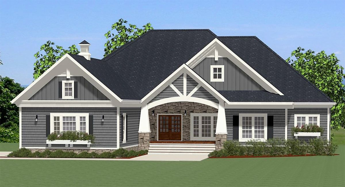 Eye Catching Craftsman House Plan 46294LA