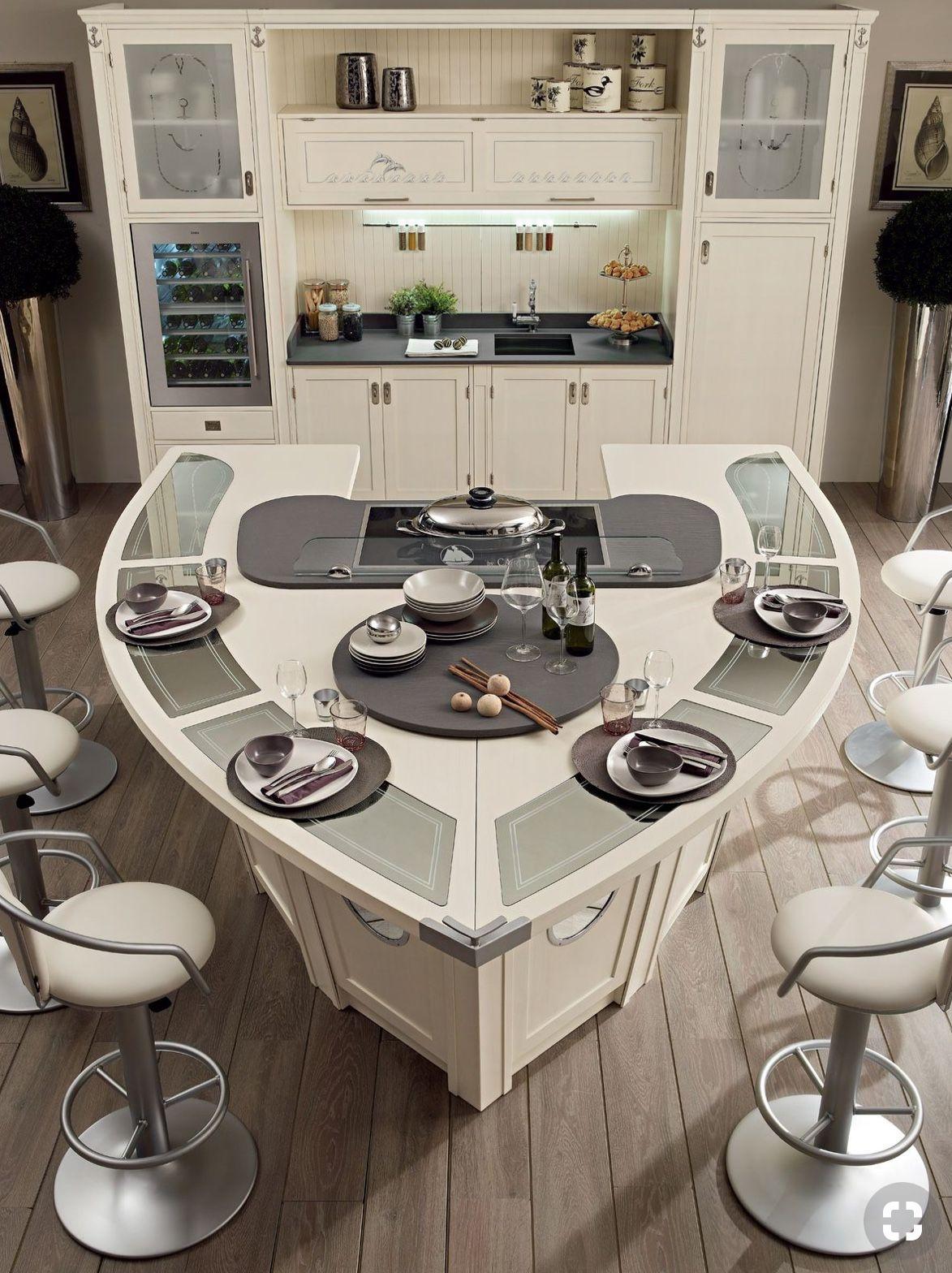 Wow a kitchen island shaped like a boat hull nautical