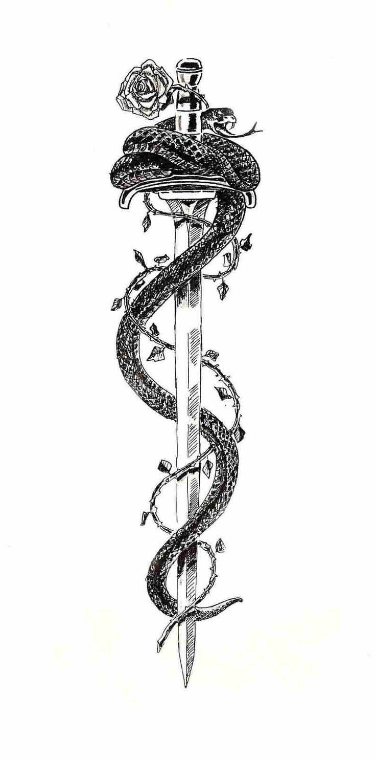 Black Ink Samurai Sword With Snake And Rose Tattoo… – #black #ink #Rose #samurai #Snake