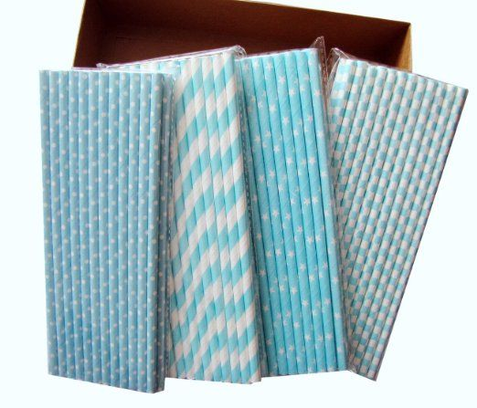 Amazon.com: Secret Life(TM) Baby Blue Striped Paper Drinking Straws made w/ 100% Biodegradable Soy Ink Paper + 100% Biodegradable Container ...