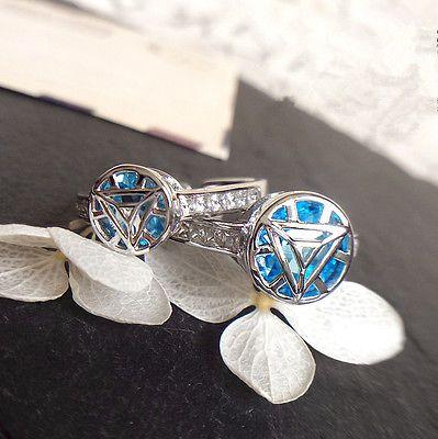 Original Handmade 925 Silver Iron Man Arc Reactor Ring Blue