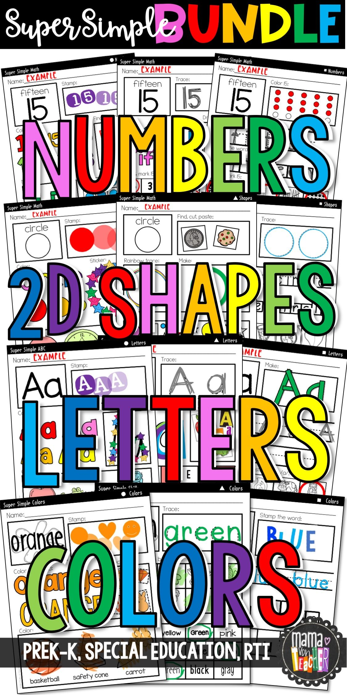 Super Simple Worksheet Bundle Numbers 2d Shapes Letters