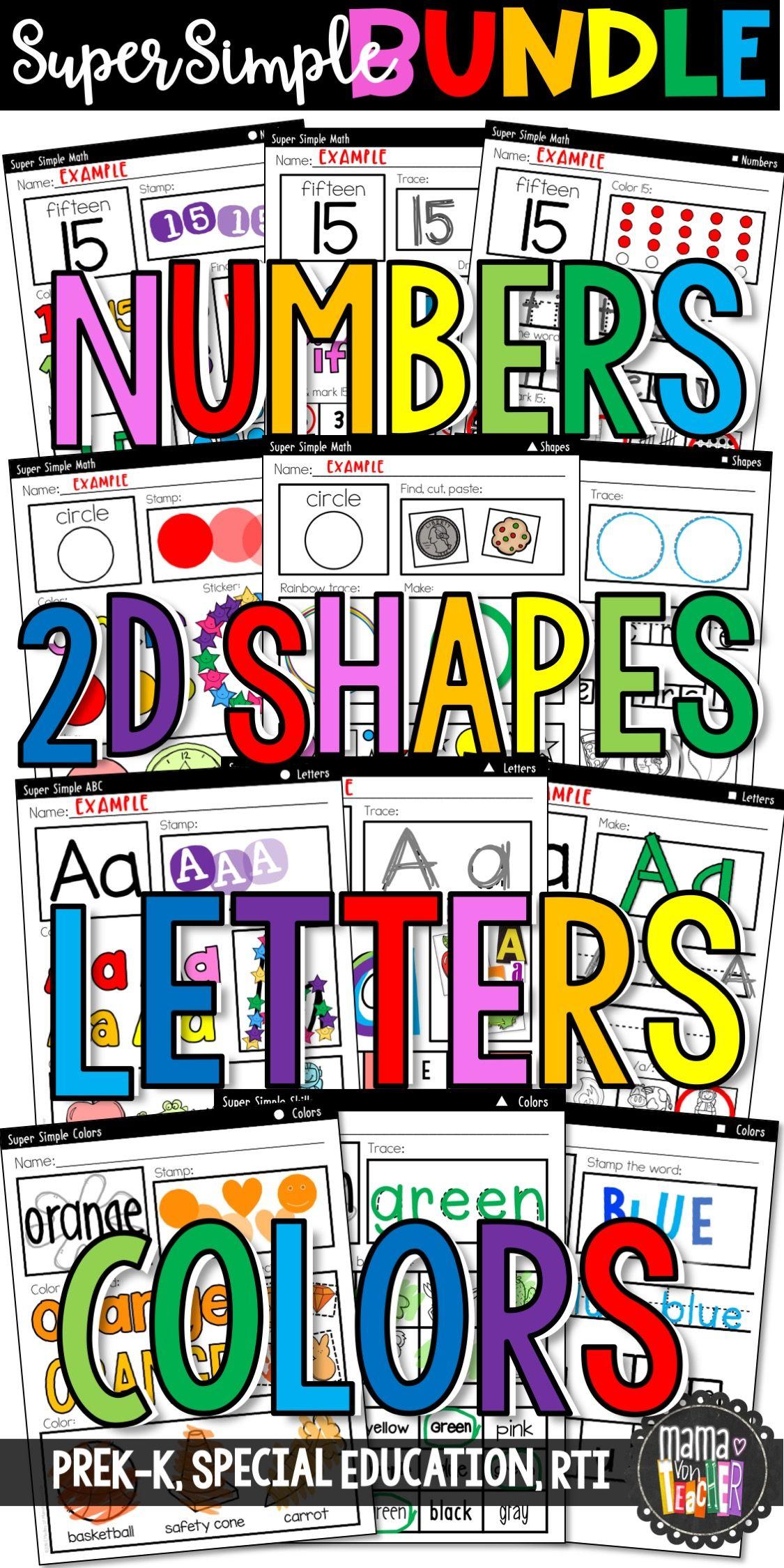 Super Simple Worksheet Bundle Numbers 2d Shapes Letters