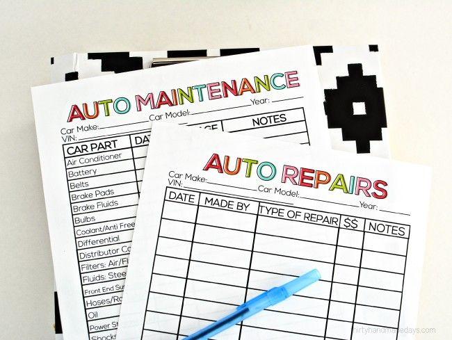 Printable Auto Maintenance Auto maintenance and Binder